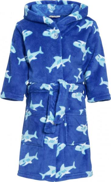 Playshoes Kinder Fleece-Bademantel Hai Blau