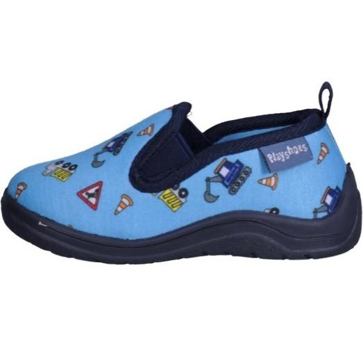 Playshoes Kinder Schuh Hausschuh Allover Baustelle Blau
