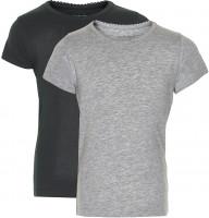 Minymo Mädchen T-Shirts Basic 33 -T-Shirt (2-Pack) Anthacite Black