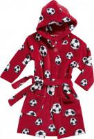 Playshoes Kinder Fleece-Bademantel Fußball Rot