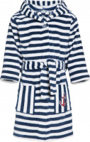 Playshoes Kinder Fleece-Bademantel Ringel Maritim Marine/Weiß
