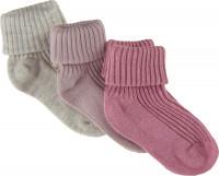 Minymo Kinder Socke Baby Sock Rib (3er Pack) Rose Smoke