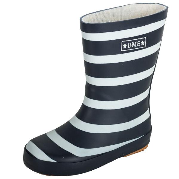 BMS Kinder Schuhe Gummistiefel Marine/Weiß Blockstreifen