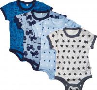 Pippi Babywear Kinder Body SS AO-Printed (4er Pack) Blue