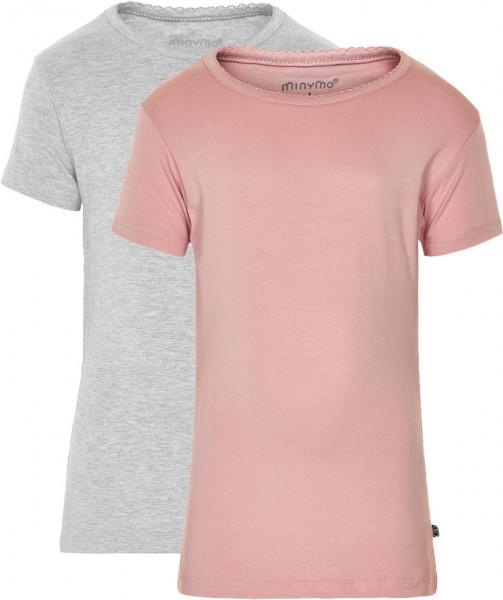 Minymo Mädchen T-Shirts Basic 33 -T-Shirt (2-Pack) Blusher