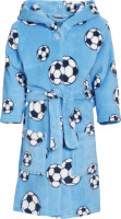 Playshoes Kinder Fleece-Bademantel Fußball Blau