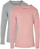 Minymo Mädchen Longsleeve Basic 35 Langarm Shirt (2-Pack) Blusher