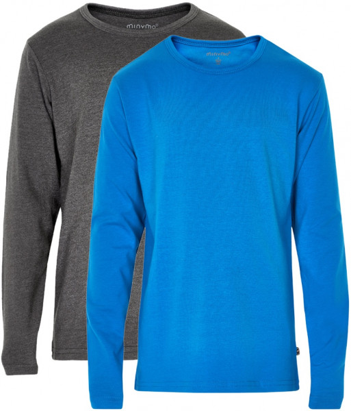 Minymo Jungen Longsleeve Basic 34 Langarm Shirt (2-Pack) Directoire Blue