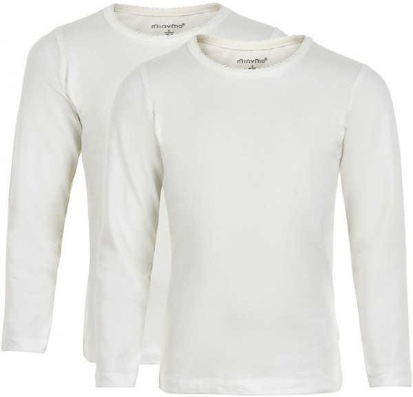Minymo Mädchen Longsleeve Basic 35 Langarm Shirt (2-Pack) White