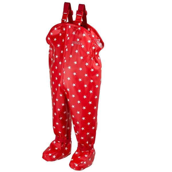 BMS Kinder / Kleinkinder Regenhose Babybuddy Softskin Rot mit Weißen Sternen
