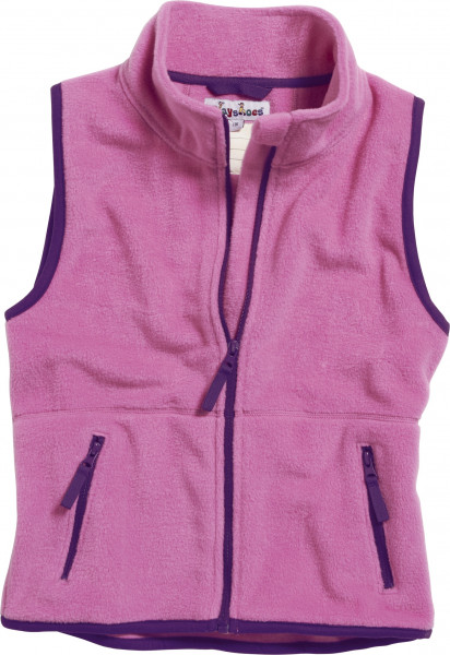 Playshoes Kinder Fleece-Weste farbig abgesetzt pink