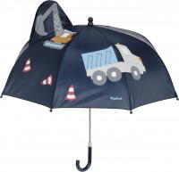 Playshoes Kinder 3D Regenschirm Baustelle Marine