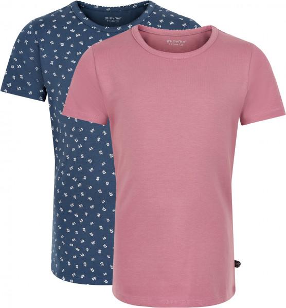 Minymo Mädchen T-Shirts Basic 33 -T-Shirt (2-Pack) Mesa Rose