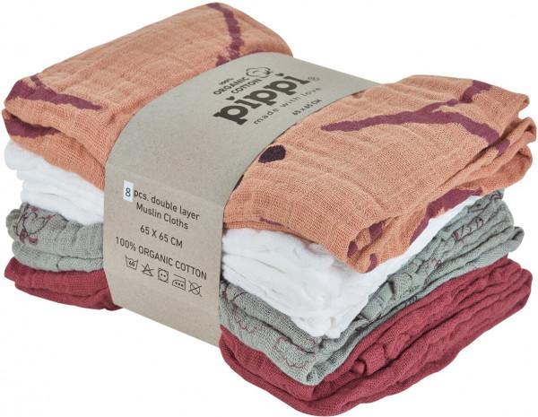 Pippi Baybwear Kinder Windeln Organic Cloth Muslin (8-Pack) Aop 65x65 cm Misty Rose