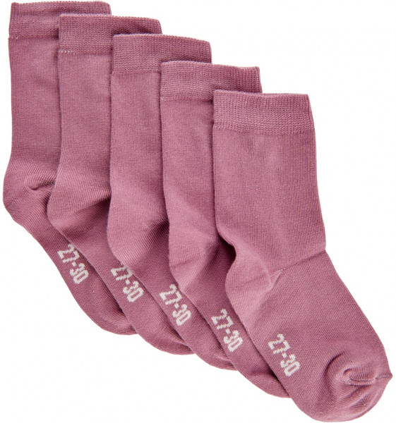 Minymo Kinder Socken Ankle Sock Solid (5-Pack) Dusky Orchid Lila