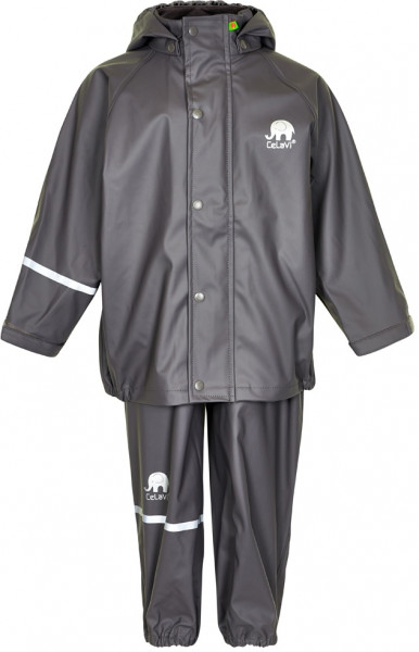 Celavi Kinder Regenset Basic Rainwear Set Solid PU Grey