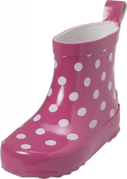 Playshoes Kinder Gummistiefel Halbschaft Punkte pink