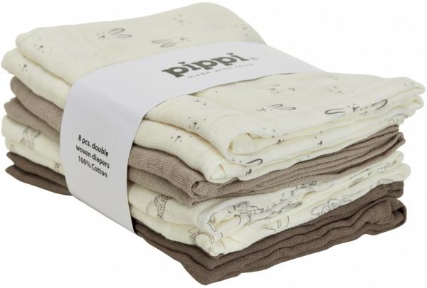 Pippi Baybwear Kinder Windeln Cloth Muslin Aop (8-Pack) 70x70 cm Cinder Beige
