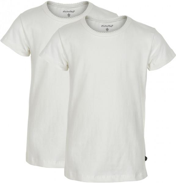 Minymo Mädchen T-Shirts Basic 33 -T-Shirt (2-Pack) White
