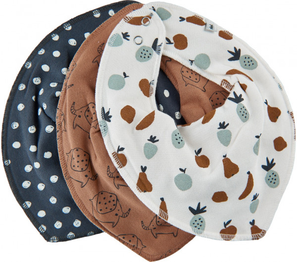 Pippi Baybwear Kinder Halstuche Schal Bandana Bib Uni - Aop (3-Pack) Indian Tan