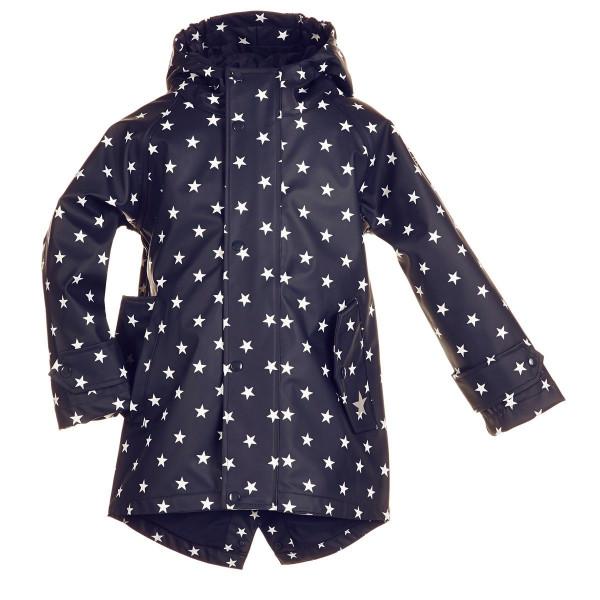 BMS Kinder Regenjacke HafenCity Coat Kids Pu/Lining Marine mit Weißen Sternen