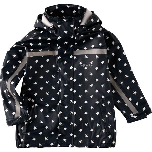 BMS Kinder Regenjacke Softskin Buddeljacke Marine mit Weißen Sternen