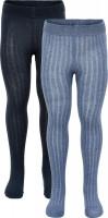 Minymo Kinder Strumpfhose Stocking Solid Rib (2er Pack) Blue Melange