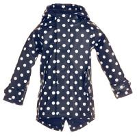 BMS Kinder Regenjacke HafenCity Coat Kids Pu/Lining Marine mit Weißen Punkten