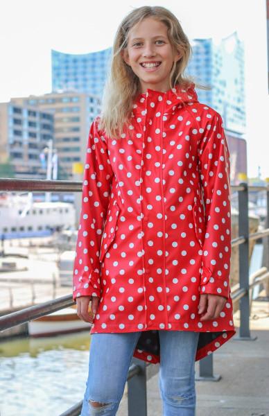 BMS Kinder Regenjacke HafenCity Coat Kids Pu/Lining Rot mit Weißen Punkten
