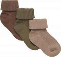 Minymo Kinder Socke Baby Sock Rib (3er Pack) Dried Herbs