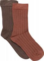 Minymo Kinder Socke Ankle Sock Bamboo (2er Pack) Cocoa Brown