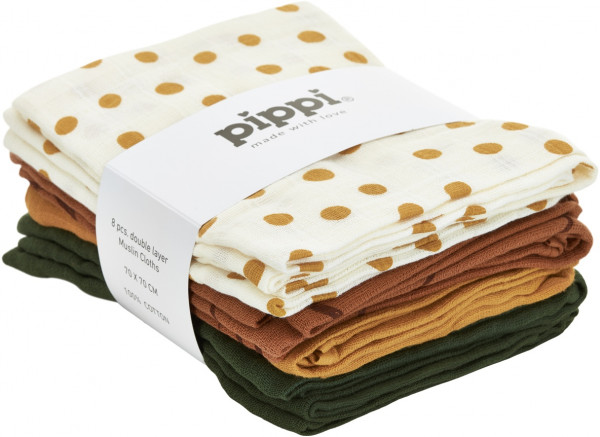 Pippi Baybwear Kinder Windeln Cloth Muslin Aop (8-Pack) 70x70 cm Adobe