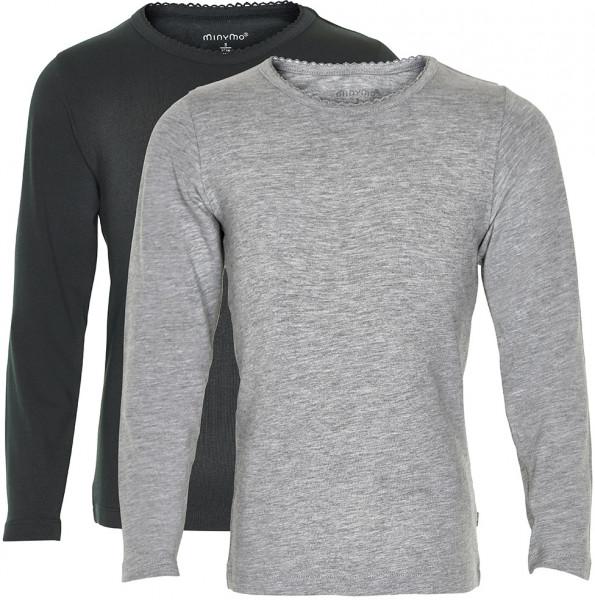Minymo Mädchen Longsleeve Basic 35 Langarm Shirt (2-Pack) Anthacite Black