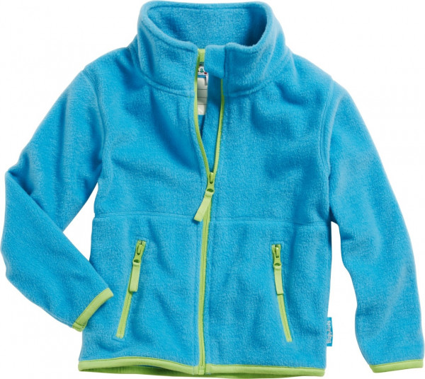 Playshoes Kinder Fleece-Jacke farbig abgesetzt Aquablau