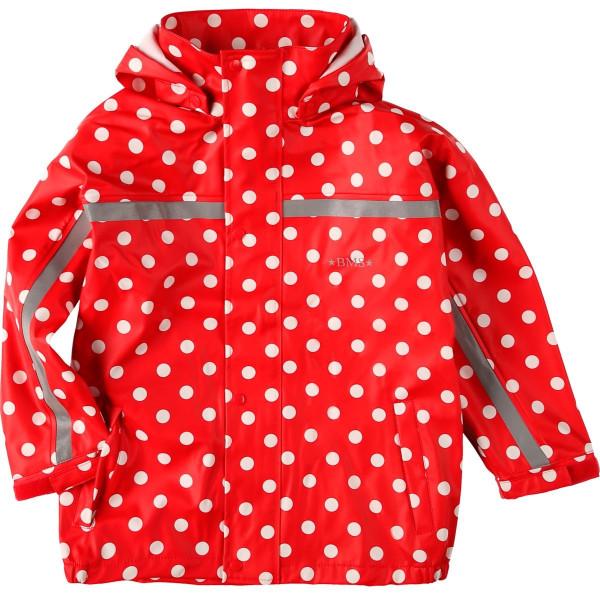 BMS Kinder Regenjacke Softskin Buddeljacke Rot mit Weißen Punkten