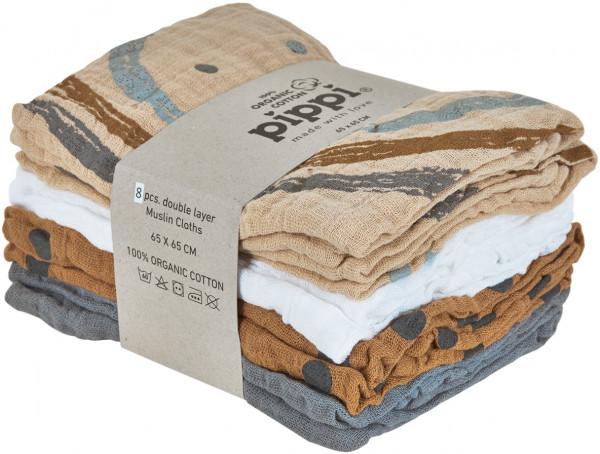Pippi Baybwear Kinder Windeln Organic Cloth Muslin (8-Pack) Aop 65x65 cm Sandshell
