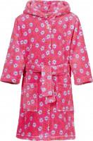 Playshoes Kinder Fleece-Bademantel Blumen Pink