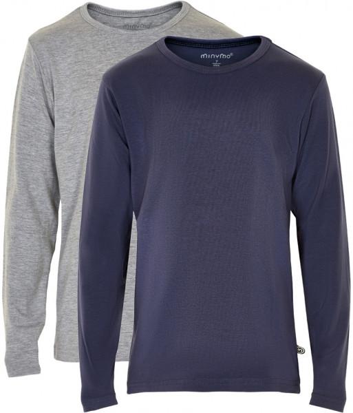 Minymo Jungen Longsleeve Basic 34 Langarm Shirt (2-Pack) Dark Navy
