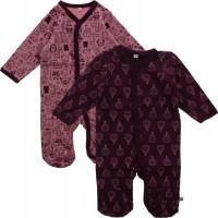 Pippi Babywear Kinder Schlafanzug Nightsuit mit Foot Buttons (2er Pack) Lilac