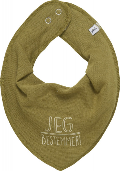 Pippi Babywear Kinder Lätzchen Bamdam Bib mit Schriftzug auf Dänisch Green Moss