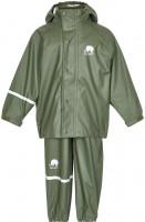 Celavi Kinder Regenset Basic Rainwear Set Solid PU Army Green