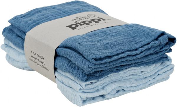 Pippi Baybwear Kinder Windeln Organic Cloth Muslin (4-Pack) 65x65 cm Baby Blue