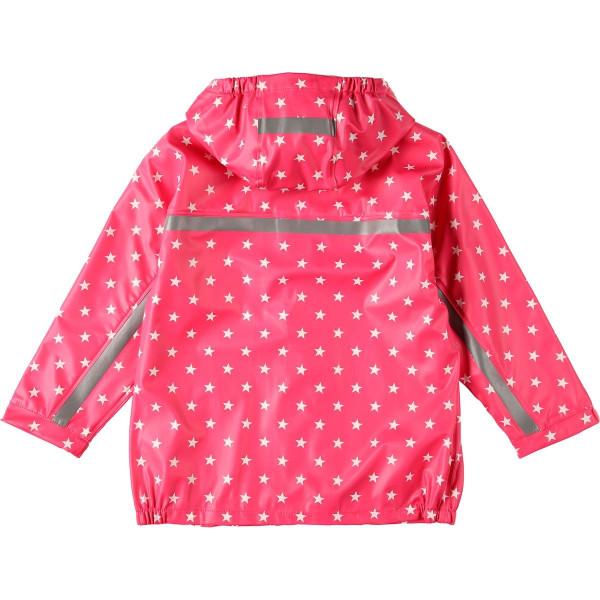 BMS Kinder Regenjacke Softskin Buddeljacke Pink mit Weissen Sternen