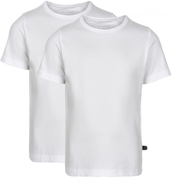 Minymo Jungen T-Shirts Basic 32 -T-Shirt (2-Pack) Pack W. 2 Colours White