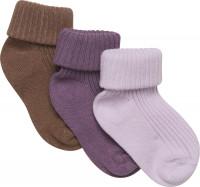 Minymo Kinder Socke Baby Sock Rib (3er Pack) Very Grape