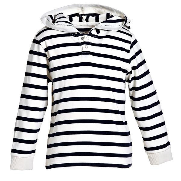 BMS Kinder Hoodie / Sweatshirt Kids Kapuzen-Sweat Shirt Ringelshirt Weiß/Marine Blockstreifen