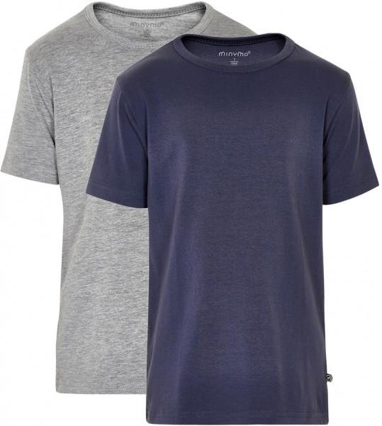 Minymo Jungen T-Shirts Basic 32 -T-Shirt (2-Pack) Pack W. 2 Colours Dark Navy