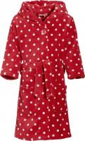 Playshoes Kinder Fleece-Bademantel Punkte Rot