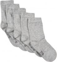 Minymo Kinder Socken Ankle Sock Solid (5-Pack) Light Grey Melange