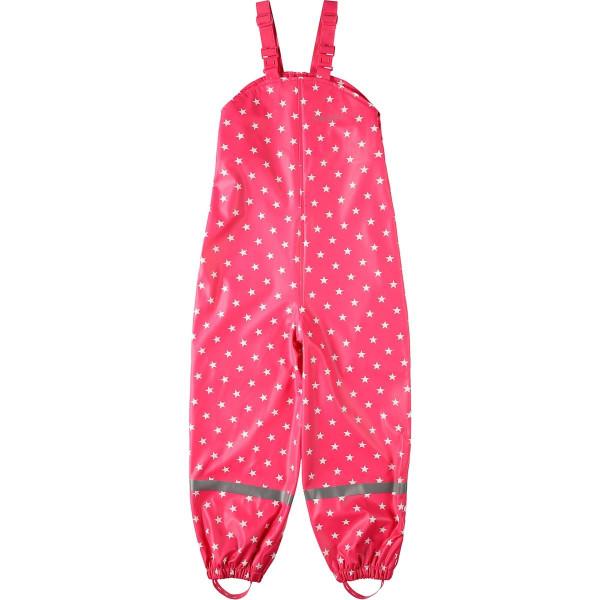 BMS Kinder Regenhose Softskin Buddellatzhose OekoTex Pink mit Weissen Sternen
